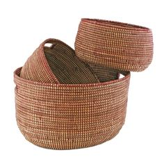Nesting Handmade Woven Storage Basket Set - Pomegranate