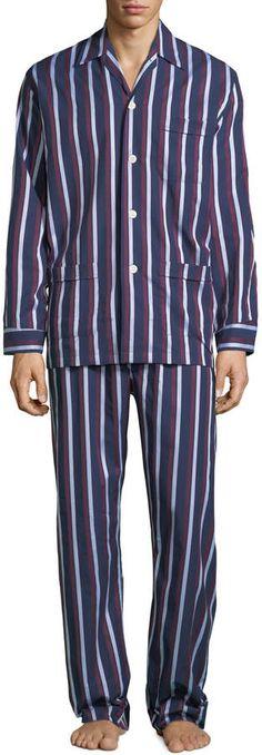 3xl Sleep Mens Cotton Long Sleeve PJ/'S Nightdress Stripe Blue Navy Xmas M