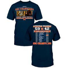4cb4d35fd7e Auburn Tigers 2013 SEC Football Champions Score T-Shirt - Navy Blue