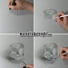 Hyperrealistic drawing of a whisky glass, mixed media on gray paper, four drawing stages by Marcello Barenghi.