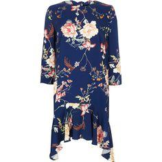 Blue floral curved frill hem swing dress