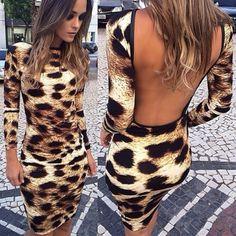 Backless Long Sleeves Leopard Blending Sheath Knee Length Dress