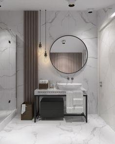 Cool marble walls and flooring in this bathroom | Tolle Marmorwände und Marmorboden in diesem Bad #bathroomdesign #flooring #tile #marble #badezimmerdesign #boden #fliesen #marmor