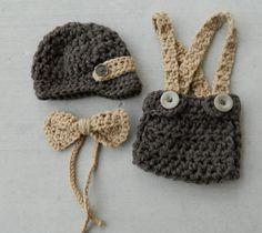 Handmade, Crochet Wool Newsboy outfit, Newborn Boy photo prop, Suspender Diaper Hat, Bow Tie and Newsboy Newborn Hat
