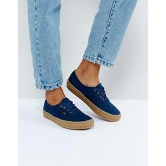 Vans Authentic Trainers In Navy (901.835 IDR) ❤ liked on Polyvore featuring shoes, sneakers, navy, high top canvas sneakers, high top skate shoes, high-top sneakers, vans high tops and slip on skate shoes