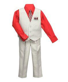 Silver & Red Four-Piece Vest Set - Infant, Toddler & Boys #zulily #zulilyfinds