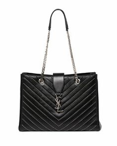V1W7F Saint Laurent Classic Studded Monogramme Tote Bag, Black