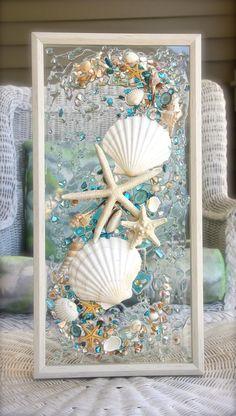 decor Dizzy DIY decor Ideas bySea Glass Art for Beach House, Beach Glass Wall Hanging for Nautical Bathroom Decor, Blue Sea Glass Decor, Beach Decor, Beach Lovers Frame DIY Interior Designs That Always Look Awesome - Home Decor IdeasUse an oldSea gla Seashell Art, Seashell Crafts, Beach Crafts, Diy Crafts, Crafts With Seashells, Seashell Frame, Seashell Picture Frames, Seashell Projects, Picture Frame Crafts