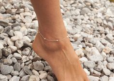 Silver Anklet Beaded Chain Anklet Delicate Silver by threelayers