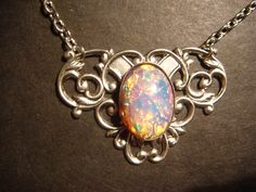 Victorian Style Fire Opal on Victorian Flourish Setting Necklace (370)