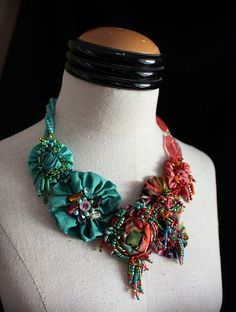 HAVANA SUNSET Statement Textile Beaded Necklace by carlafoxdesign, $245.00