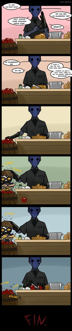 Today's menu : Blueberry Pie -handmade -fresh from oven -half eaten ----------------------------------------- >Next: Creepypasta Cafe : visitor <Previous: Creepypasta Cafe extra page