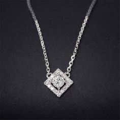 LASAMERO Sqaure Halo 0.26ctw Natural Diamond Pendant 18k White Gold Solitaire Prong Set Accents Pendant Necklace Diamond Solitaire Necklace, Diamond Pendant, Halo Setting, Prong Set, Natural Diamonds, Colored Diamonds, White Gold, Pendant Necklace, Rings