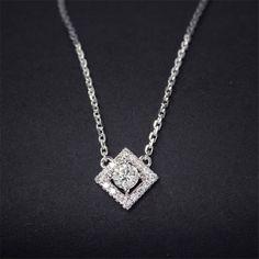 LASAMERO Sqaure Halo 0.26ctw Natural Diamond Pendant 18k White Gold Solitaire Prong Set Accents Pendant Necklace