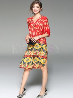 Shop for high quality Ethnic V-neck Print Silk Shift Dress online at cheap prices and discover fashion at Ezpopsy.com