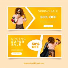 Spring sale banners with a girl's photo Free Vector Girl Photo Download, Fashion Banner, Youtube Channel Art, Web Banner Design, Promotional Design, Photo Banner, Spring Design, Poster Layout, Sale Banner