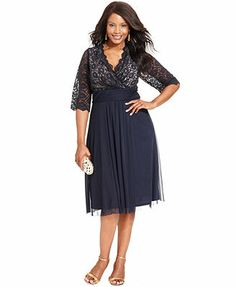 Jessica Howard Plus Size Dress, Three-Quarter-Sleeve Lace Empire-Waist  Sister's Dress Macy's Dress