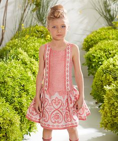 Another great find on #zulily! Coral & Cream Baroque Dress - Girls by ValMax #zulilyfinds