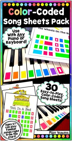 Color-Coded Song Sheets for Piano & Boomwhackers Music Lessons - Play by Color! Music Lessons For Kids, Music Lesson Plans, Piano Lessons, Kids Piano, Therapy Worksheets, Piano Teaching, Learning Piano, Early Learning, Piano Songs