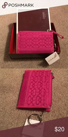 NWT and box Coach Mini Skinny Change Purse NWT and box Pink Coach Mini Skinny change purse with small card compartment and key ring  $29.00 Coach Bags Wallets
