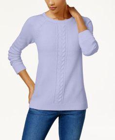 Karen Scott Cotton Cable-Knit Sweater, Created for Macy's - Tan/Beige XXL