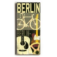 Berlin Cycle by Artist Cory Steffen Wood Sign | eTriggerz - Wall Decor, Accents, Furniture and more! | www.etriggerz.com | Santa Ana, California