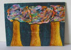 BUNTE BÄUMCHEN IN DER NACHT - Nr. 2 ...Herbivore11 von HERBIVORE11 Tiere und Kunst auf DaWanda.com