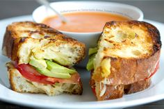 Grilled gruyere with green garlic butter, tomato and creamy avocado
