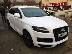 Audi Q7 Matte White Wrap by Wrapping Cars London  Audi Q7 Wrapped Matte Satin White from Black Original Paint