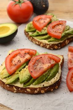 Lately I've been diggin' this vegan Hummus and Avocado Toast as a super simple lunch/snack. It's made with my healthy, homemade, lemon-garlic hummus and topped with fresh, ripe avocado. Vegan Recipes Beginner, Vegan Recipes Videos, Best Vegan Recipes, Recipes For Beginners, Vegetarian Recipes, Cooking Recipes, Healthy Recipes, Beginner Vegetarian, Easy Recipes