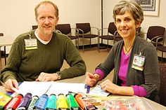 Don Lewis, coordinator for the UC Davis Hospice Bereavement Program, and Hannah Hunter, art therapist for the Child Life Program at UC Davis Children's Hospital, co-facilitate young adult grief support groups.