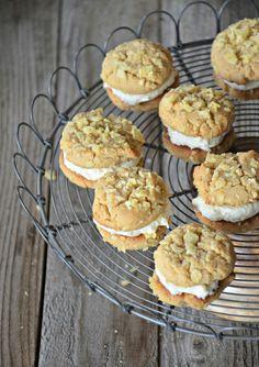 Peanut Butter & Honey Potato Chip Sandwich Cookies with Honey Buttercream