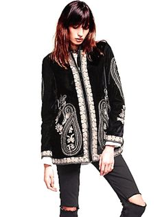 NWOT $298 Free People black Embroidered Velvet Coat tan embroidery zipper RARE S #FreePeople #EmbroideredVelvetCoat