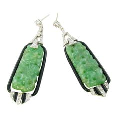 Pair of Art Deco platinum, jade, enamel and diamond earrings. Description from 1stdibs.com. I searched for this on bing.com/images