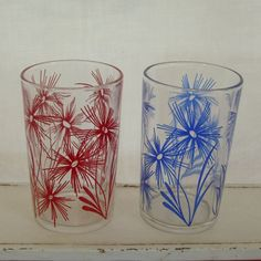 Vintage drinking glasses swanky swig tumblers red and blue cornflower by trendybindi, $10.00 #home decor #kitchen #kitsch