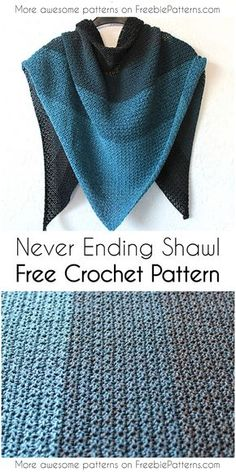 Never Ending Shawl Free Crochet Pattern #crochetpattern #crochet #shawl #freecrochetpattern #stitch #freebiepatterns #yarn