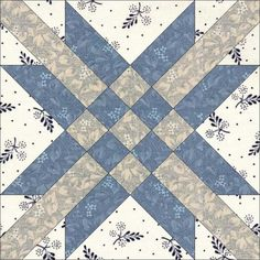 """11-22. Star and Cross was first documented by the Ladies Art Company (#284, c1895); but like so many of their patterns, it appeared much earlier. Lockport Cotton Batting Co notedin its1940s batting wrapper that it is """"truly an antique in every sense of the word … the original quilt from which this pattern was taken was made over 95 years ago"""". This would date the original quilt in the 1830s.Lockport called the block North Star, while it was also published as Shining Hour by Farm Journal in…"""