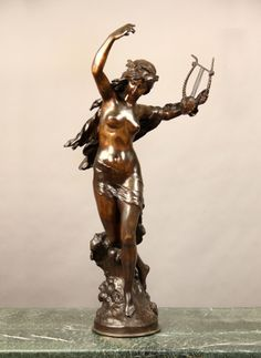 Late 19th Century Bronze Sculpture of a Dancing Maiden Holding a Lyre  Signed Math Moreau