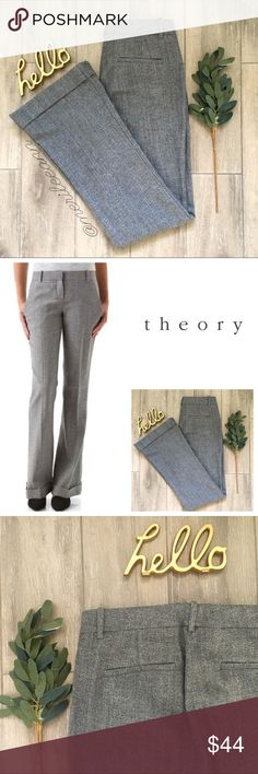 """Theory Yadie Cuff Tweed Trousers Wide Leg These gorgeous, tweed trousers are so beautiful in person! Theory clothing is built to last the test of time, and these are no exception.  These are the Yadie Tweed Trousers. No signs of wear.   Excellent condition.  NO trades, please  Approx measures// taken flat: Waist: 14.5"""" Rise: 8.5"""" Inseam: 32"""" Leg Opening: 10"""" Materials:  Please see tag  Check out my black pinstripe Theory blazer, also in a size 6! Bundle for best discounts. Theory Pants…"""