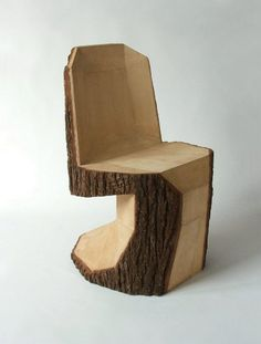 Natural Wooden Chair Design, Panton Chair by Peter Jakubik // Quirky Wooden Furniture, Furniture Design, Unusual Furniture, Natural Furniture, Cabin Furniture, Western Furniture, Dining Furniture, Furniture Making, Furniture Decor