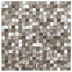 3D Silver And Pewter Aluminum Square Mosaic Tile
