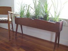 Mid-Century Vintage Wooden Plant Stands - @Amanda Watters I think you need something like this for all your herbs :)