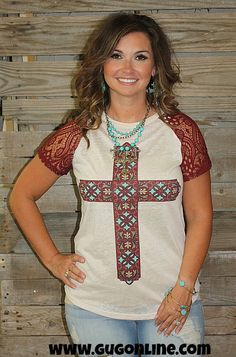 Maroon and Turquoise Cross on Short Sleeve Tee in Tan www.gugonline.com $28.95
