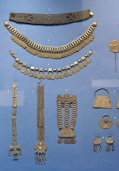 Display of silver jewelry made by the Mapuche people of Chile in South America.   Photo taken at Folk Art of the Andes, exhibition at the Museum of International Folk Art in Santa Fe, New Mexico   Image ©Karen Elwell
