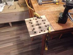Cut plate in birch plywood  Lasercuted holes to fit the cordinate table....