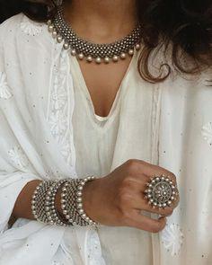 Indian Bridal Fashion, Indian Fashion Dresses, Indian Outfits, Western Outfits, Indian Jewelry, Western Jewellery, Silver Jewelry, Wire Jewelry, Antique Jewellery Designs