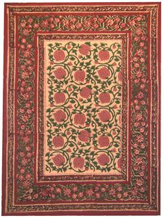 Hand Block Printed Pillowcase in Red Lotus Reverse Design