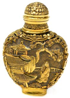 ♔ Bottles & Boxes ♔ perfume, snuff & decorative containers - Chinese carved gold snuff box
