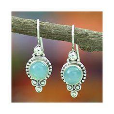 Sterling Silver 'Ocean Sky' Chalcedony Dangle Earrings (India)