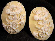 Plastic Flower 40x30mm Cameos  White on Ivory  by beadbarnsupplies, $2.00